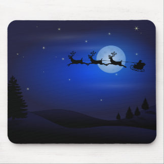 Santa and Reindeer Silhouette Against Full Moon Mouse Pad