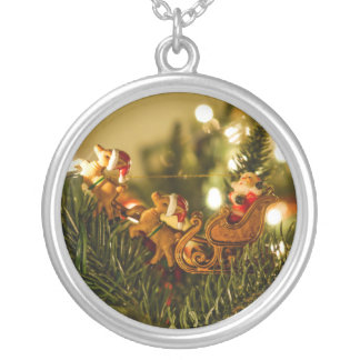 Santa And Reindeer Silver Plated Necklace