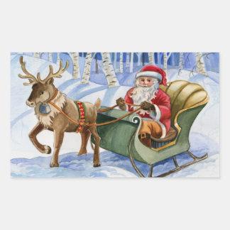 Santa and Reindeer Sleigh Stickers