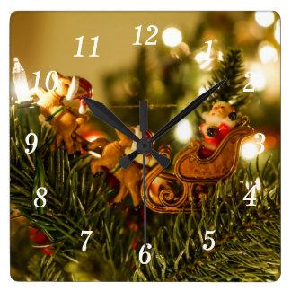 Santa And Reindeer Square Wall Clock