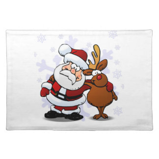Santa and Reindeer Standing Arm in Arm Placemat