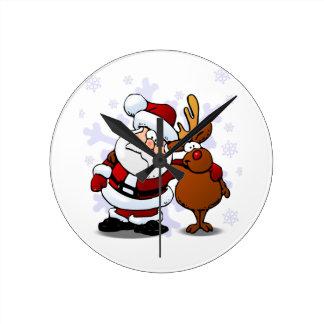 Santa and Reindeer Standing Arm in Arm Round Clock