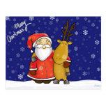 Santa and reindeer tarjeta postal