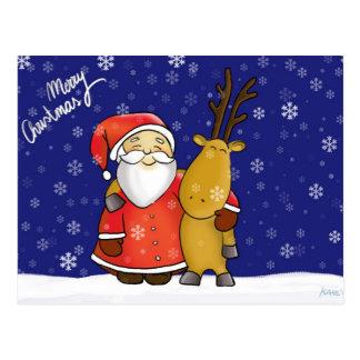 Santa and reindeer tarjetas postales