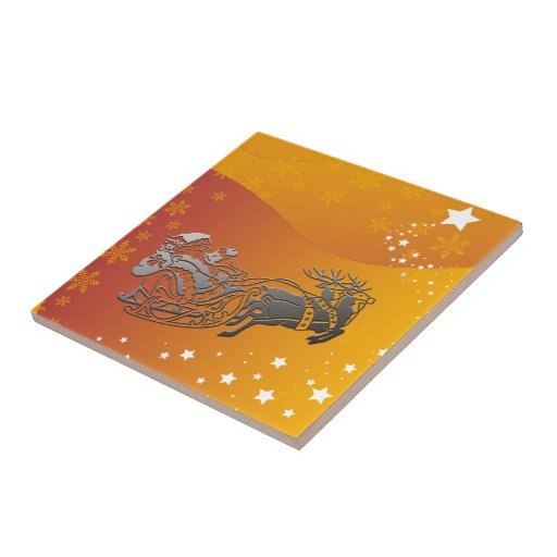 Santa and Reindeer Tile Small Square Tile