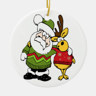 Santa and Reindeer Wearing Ugly Christmas Sweaters Double-Sided Ceramic Round Christmas Ornament