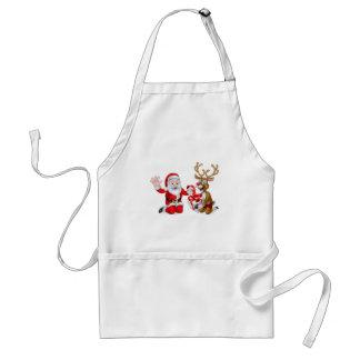 Santa and Reindeer with Christmas Gift Adult Apron