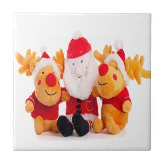 santa and reindeers christmas happy tile