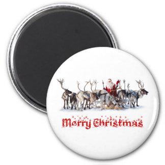 Santa and Reindeers Magnet