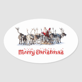 Santa and Reindeers Oval Sticker