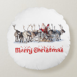 Santa and Reindeers Round Pillow