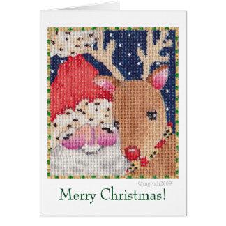 Santa and Rudolf card