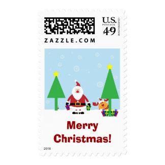 Santa and Rudolf Custom Christmas Postage