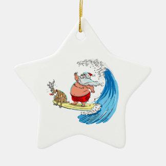 sAnTa aNd RuDoLf Double-Sided Star Ceramic Christmas Ornament