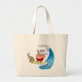 santa and rudolf jumbo tote bag