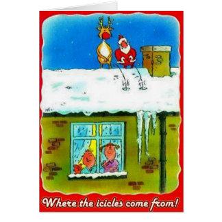 Santa and Rudolf Pees on Roof Greeting Card