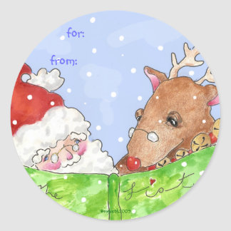 Santa and Rudolf with the list Classic Round Sticker