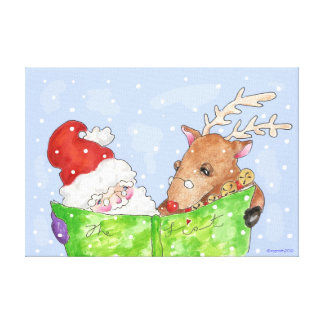 Santa and Rudolf with the list giclee Stretched Canvas Prints