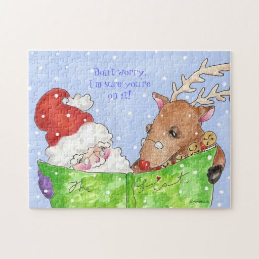 Santa and Rudolf with the list Jigsaw Puzzles
