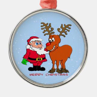 Santa and Rudolph Christmas Ornament