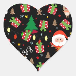 Santa and Rudolph pattern Heart Sticker