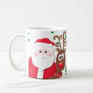 Santa and Rudolph playful Christmas Mug