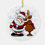 Santa and Rudolph/Reindeer Standing Arm in Arm Ornaments