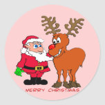 Santa and Rudolph T-Shirts & Gifts Round Stickers