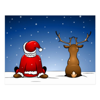 Santa and Ruloph Postcard