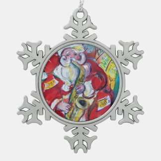 SANTA AND SAX, CHRISTMAS PARTY SNOWFLAKE PEWTER CHRISTMAS ORNAMENT