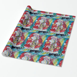SANTA AND SAX, CHRISTMAS PARTY WRAPPING PAPER
