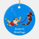 Santa and Seahorse Ornament (blue)