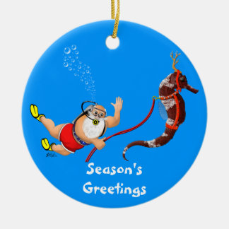 Santa and Seahorse Ornament (blue)