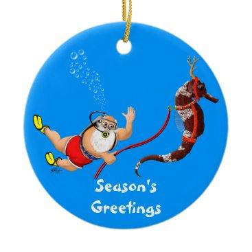 Christmas Themed Santa and Seahorse Ornament (blue)