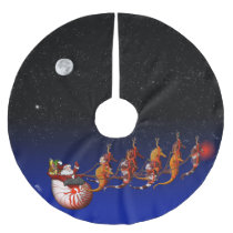 Santa and Seahorse Sleigh Brushed Polyester Tree Skirt