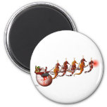 Santa and Seahorse Sleigh Magnet 2 Inch Round Magnet