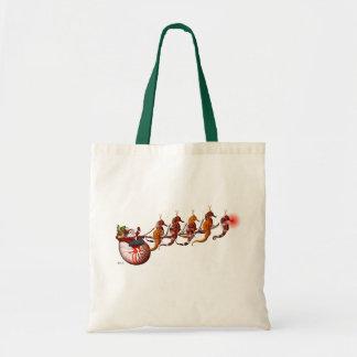 Santa and Seahorse Sleigh Tote Bag