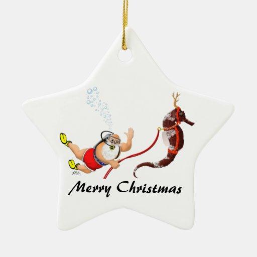 Santa and Seahorse Star Ornament