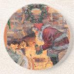 Santa and Sleeping Babes Holiday Coaster