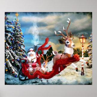 Santa and Sleigh Christmas Print