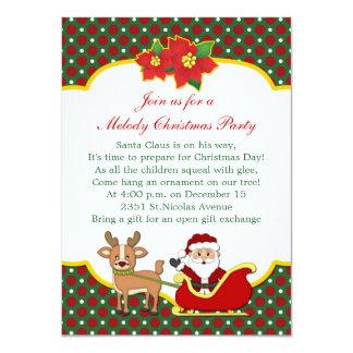 Santa and sleigh kids Christmas Party Card