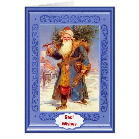 Santa and sleigh on the roof card
