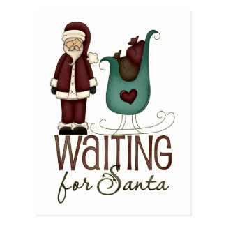 Santa and Sleigh Waiting For Santa Design Postcard