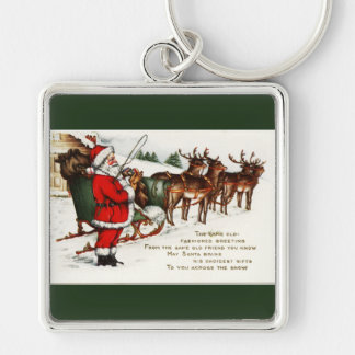 Santa and Sleigh with Reindeer Green Keychain