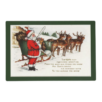 Santa and Sleigh with Reindeer Laminated Placemat