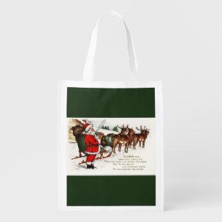 Santa and Sleigh with Reindeer Reusable Bag Grocery Bag
