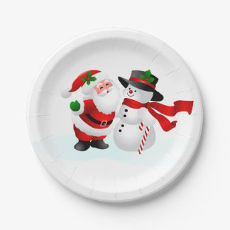 Santa And Snowman 7 Inch Paper Plate