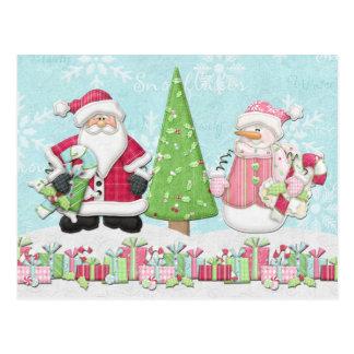 Santa and Snowman Christmas Card Postcards