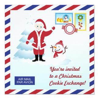 Santa and snowman Christmas Cookie Swap Invite