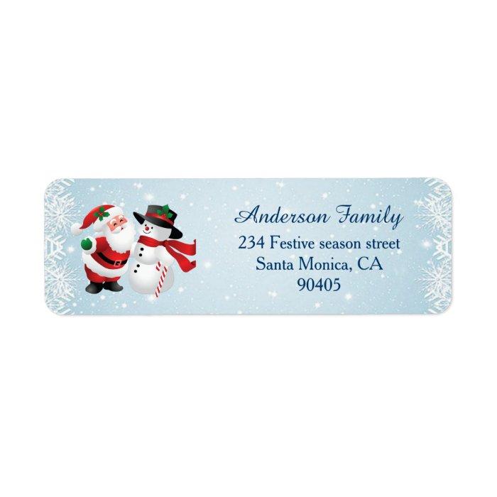 santa and snowman christmas return address label